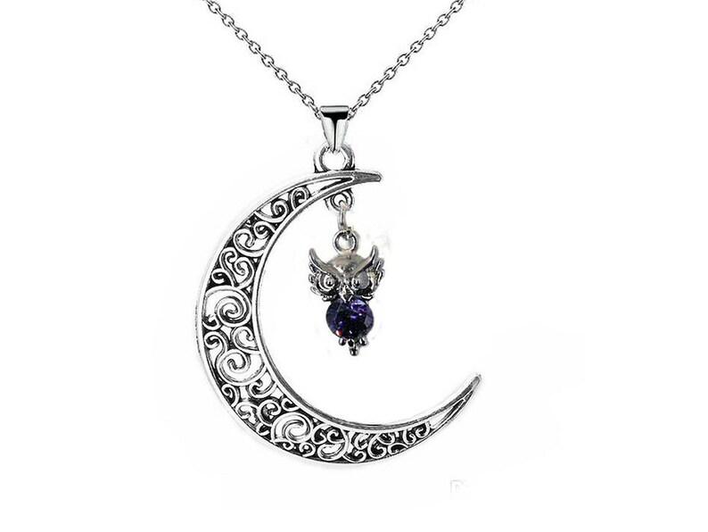 Set crystal owl on crescent moon,owl jewel crescent moon owl earring owl gifts jewel bird lucky charm