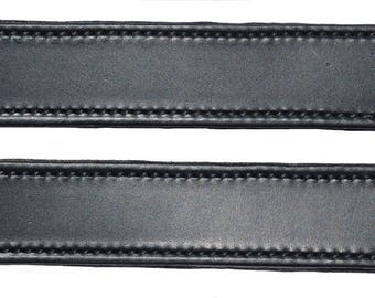 Lot of 2 Black Leather double and stitched Steamer trunk handles #101BLK