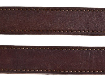 Lot of 2 Brown Leather double and stitched Steamer trunk handles #101BRN