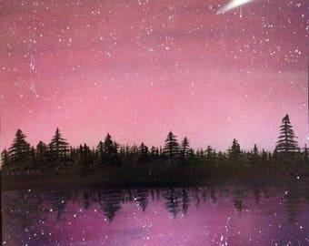 Magenta starry sky reflection Spray Paint Art A3