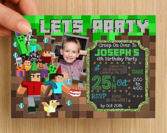 Gaming Mine Party Invitation Personalised #1 - With or without photo, digital download