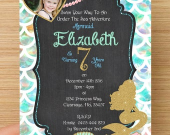 Mermaid Pool Party Invitation Personalised #2 - With or without photo, digital download, party supplies
