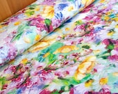 Decorative fabric polyester cotton - flowers in oil colorful digital print - metre fabric stable 50 cm x 140 cm