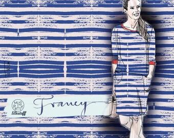 Lille fabric jersey cotton - fabric customware - Francy BLUE - organic *** 50 cm x 150 cm ***