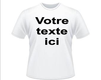White t-shirt personalized with text