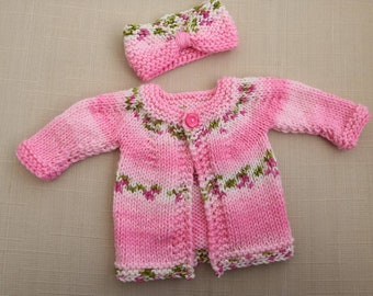 4debf8cef3a Hand knitted baby cardigan and headband set