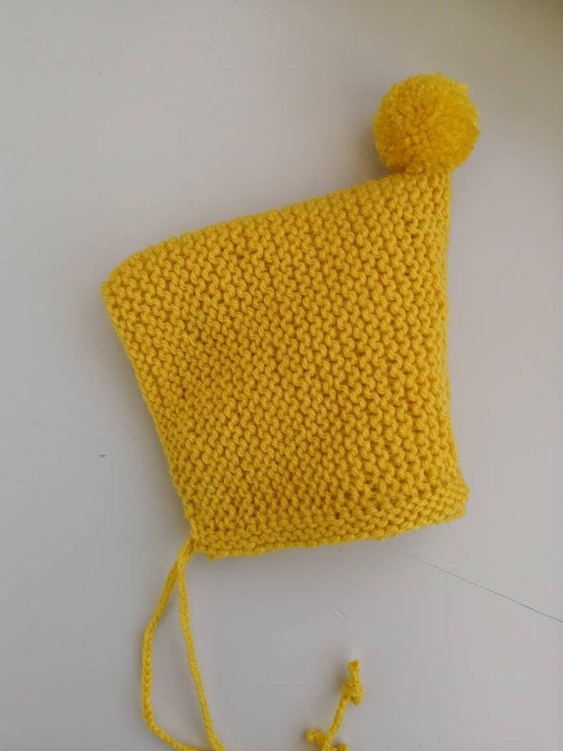baby hat knit,baby knits newborn knits,mto Hand knitted baby bonnet newborn baby hat bonnet,baby pom pom hat baby bonnet,yellow hat baby