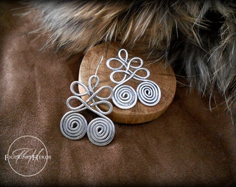 Viking Earrings: Nordic inspired, antique effect - hammered aluminum - handmade - RPG, LARP