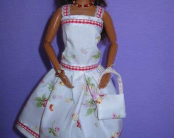 White short dress has small flowers (B208)
