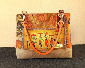 A multicolor bag in warm colors of Africa