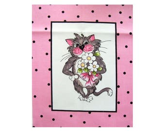Cat 13, Fabric Panel 20cm x 25cm, 100% Quilters Cotton, Novelty Fabric, Material, Quilt, Supplies