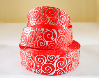 25mm, 1 Inch Red Silver Swirls Grosgrain Ribbon by the Yard for Hairbows, Scrapbooking