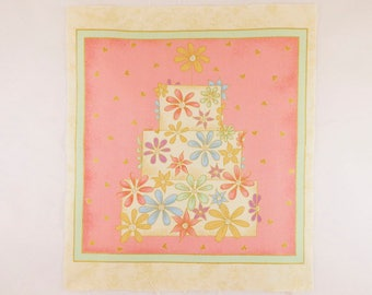 Cake 1, Fabric Panel 25cm Square,100% Quilters Cotton, Novelty Fabric, Material, Quilt, Supplies,