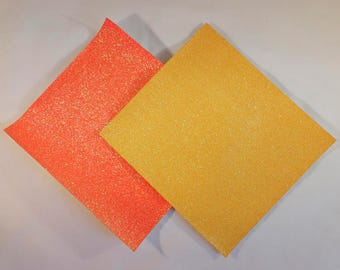 Fine Bright Orange and Yellow Glitter Vinyl Fabric Sheet 20 x 22cm, Thin 0.6mm, hair bows, Machine Applique