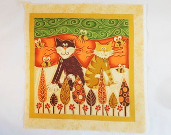 Cat Nap 1, Fabric Panel 25cm x 25cm, 100% Quilters Cotton, Novelty Fabric, Material, Quilt
