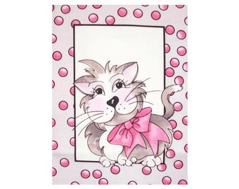Cat 10, Fabric Panel 17cm x 12cm, 100% Quilters Cotton, Novelty Fabric, Material, Quilt, Supplies