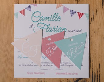 Pastel country wedding invitation, wedding flags Tavern, Bohemian, invitation stationery