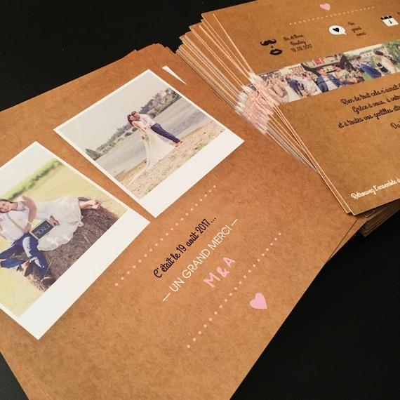 carte remerciement mariage vintage kraft papeterie