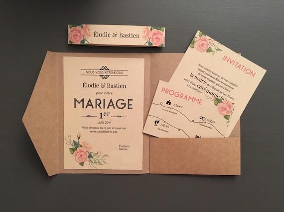 Faire Part Mariage Champêtre Papeterie Bohème Pochette Coupons Vintage Kraft
