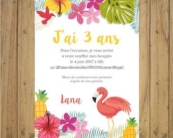 Tropical birthday invitation stationery, Flamingo, exotic, jungle