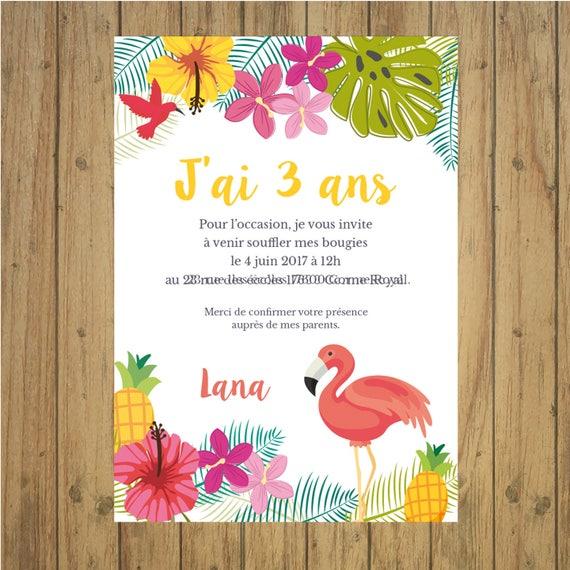 Invitation Anniversaire Tropical Carte Papeterie Flamant Rose Exotique Jungle