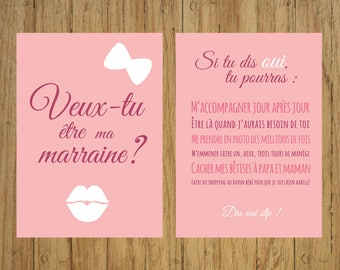 Card asks godmother, Do you want to be my godmother, godmother godfather, party, baptism