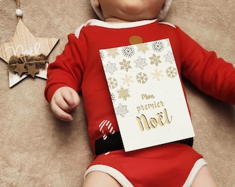First Christmas card, milestone cards, baby souvenir, party, gold