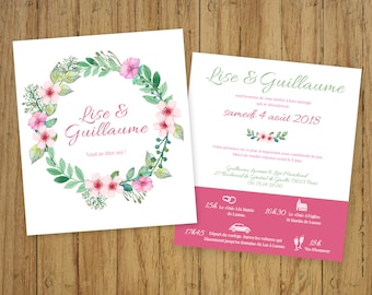Country chic flowers, vintage stationery, Bohemian wedding invitation