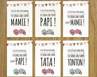 Card announces pregnancy, grandma, uncle aunt, car, vintage