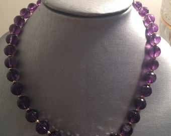 14K Amethysts with gold bits Necklace