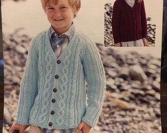 ba07aa273785 Children s Kids Aran Worsted Weight Knitting Pattern V-Neck or Shawl Collar  Cable Jacket   Cardigan Boy or Girl Sirdar 2427 2 - 13 Years