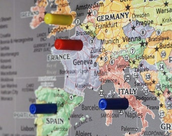 World Map With Magnetic Pins.Magnetic World Map Etsy
