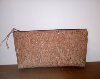 Pouch/clutch glittery Cork, cotton lining.