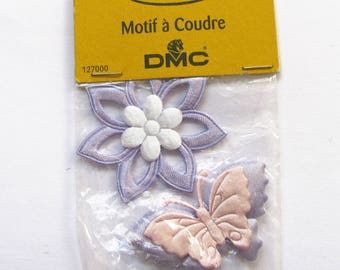 Set of 2 appliques sewing DMC flower and Butterfly