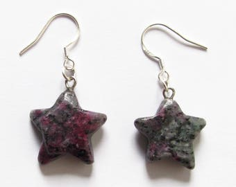 Earrings stars with inlay of raw ruby Zoisite and Sterling Silver 925