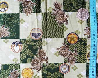 Japanese 100% cotton fabric coupon lions on green 30x55cm