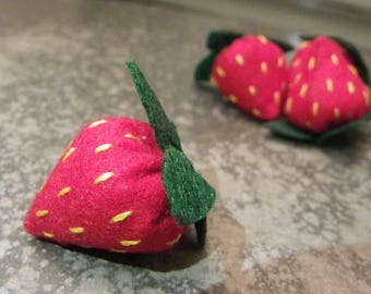 Collectible felt strawberries