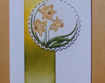 card you can customize all occasions, picture of daffodils, yellow, green, jelly