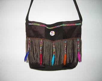 bag ethnic velvet fringe feathers and beads customized original handmade