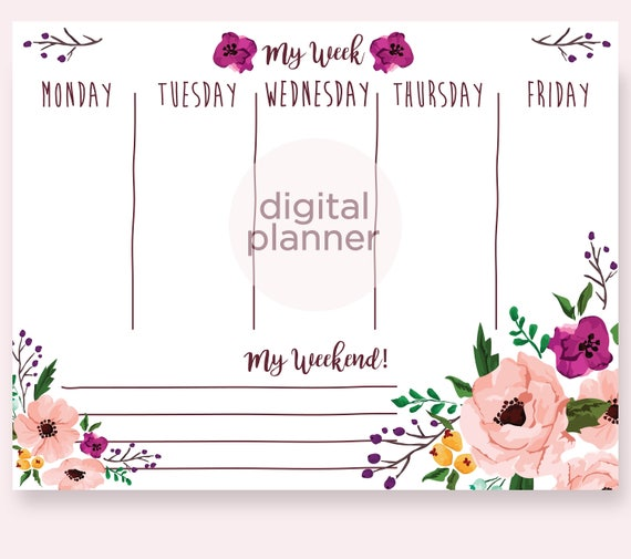 Floral Weekly Planner Blush Watercolors Planner Marsala Etsy