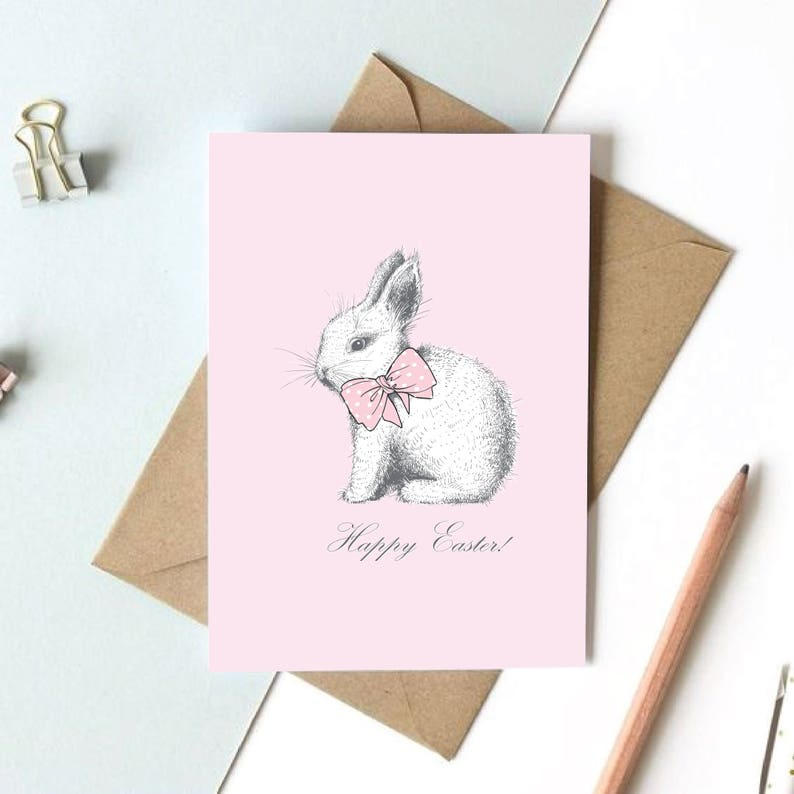 photograph about Happy Easter Cards Printable named Easter Bunny Printable Card, Content Easter Greeting Playing cards, Easter Present for Young children not Sweet, Blush Print, Rabbit Print, Woodland Pets Prints