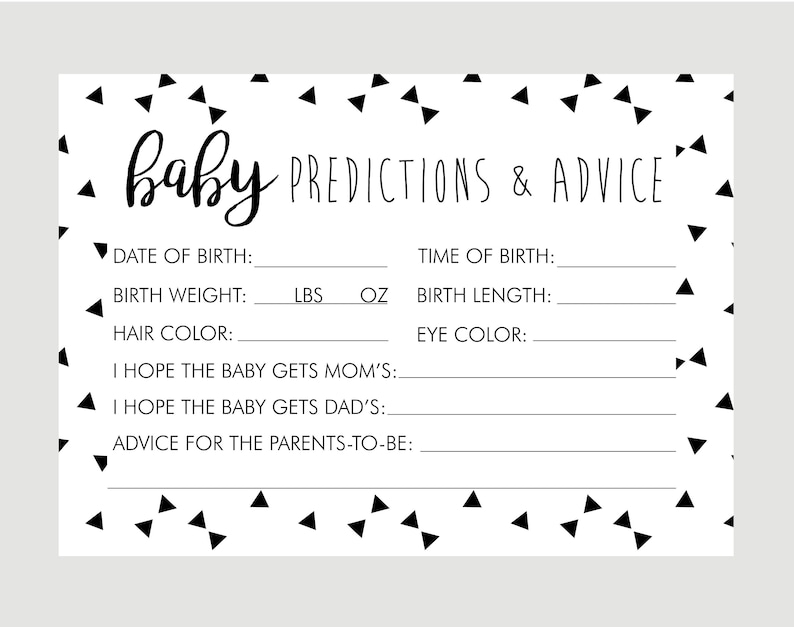 photograph about Baby Prediction Cards Free Printable identify Boy or girl Shower Video games, Predictions for Boy or girl, Kid Predictions, Gender Impartial Youngster Shower Designs Decorations , Gender Predictions, Balck White