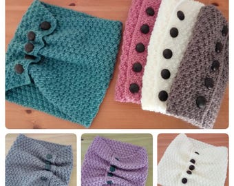 Handknitted cowl neckwarmer scarf with buttons - FREE UK P&P