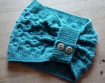 Handknitted cowl neckwarmer scarf with buttoned band - FREE UK P&P