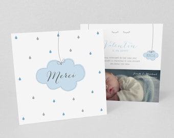 Birth/baptism thank you cards, beautiful drops and soft cloud, sky blue and grey - model Valentine