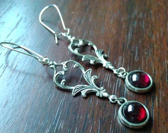 Art Nouveau earrings & Garnet Earrings