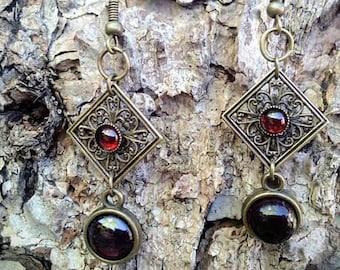garnet earrings and Art Nouveau/print frame