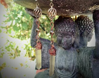 quartz crystal dying earrings