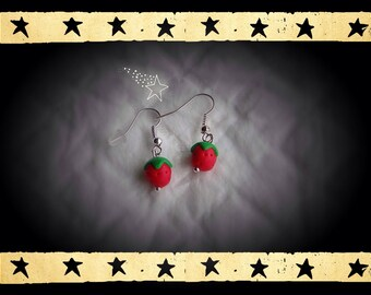 Little red Strawberry mounted on silver plated earrings