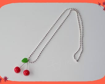 ball chain necklace pendant pair of cherry red bright varnished